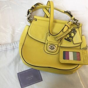 COACH Mini Willis Crossbody Yellow Leather Handbag